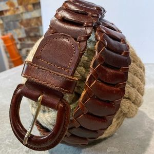 Wide Leather Belt stunning mahogany red woven